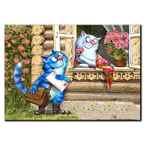 Full Square/Round Drill DIY Diamond Painting 5D Diamond Embroidery Cartoon Cat Fall in Love Diamond Mosaic Home Decor Gift-Square 80x60cm ()