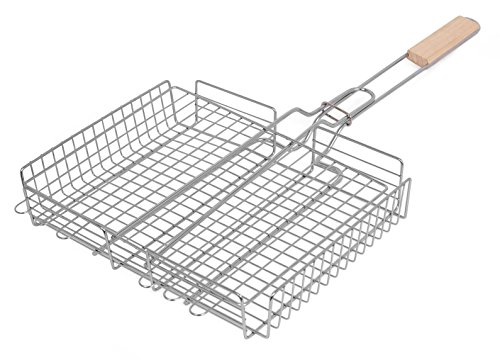 Discover Bargain Internet's Best Stainless Steel Rectangular Grilling Basket | Long Wooden Handle ...
