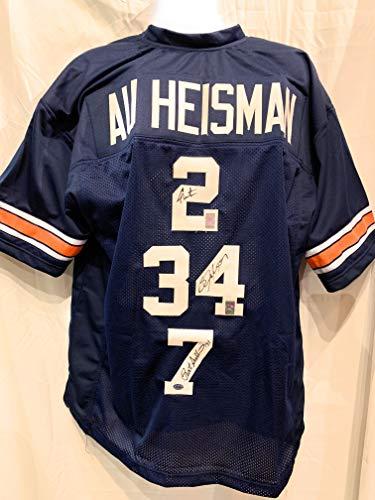 Bo Jackson Cam Newton Pat Sullivan Auburn Tigers TRIPLE Signed Autograph RARE Blue Custom Jersey GTSM Jackson Newton Sullivan GTSM Player Hologram