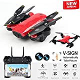 BIZONOD Drone Camera Live Video SG700 WiFi FPV Rc Quadcopter Dual 2.0MP Optical Flow Camera Auto-Photograph Folding RTF Remote Control Helicopter Toy Kids Beginners (red)