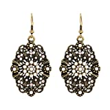 D EXCEED Vintage Hollow out Carved Floral Crystal Earrings Ivory Pearl Jewelry for Women Anti Gold