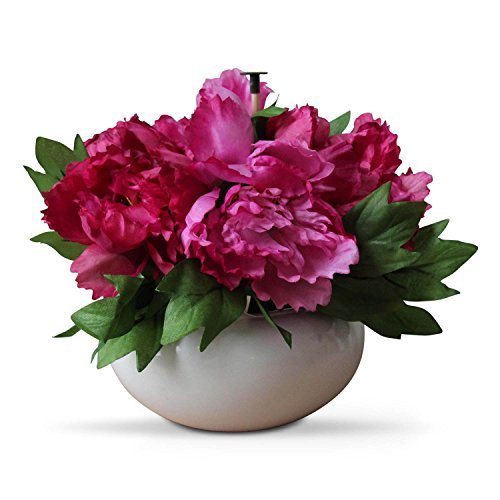 Homescapes Cerise Peonies in White Round Ceramic Bowl 25 cm - Artificial Flowers and Plants for Indoor & Outdoor Decoration by Homescapes - Cerise Ceramic