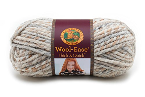 (Lion Brand Yarn 640-536 Wool-Ease Thick & Quick Yarn, Fossil )