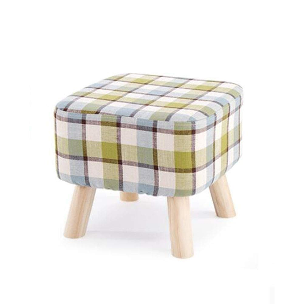 B 404035cm Padded Footstools Foot Rest with Wooden Legs Cotton and Linen Fabric Cover 40  40  35cm Solid Wood Haiming (color   B, Size   40  40  35cm)