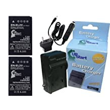 2x Pack - Nikon 1 AW1 Battery + Charger with Car & EU Adapters - Replacement for Nikon EN-EL20 Digital Camera Battery and Charger (1300mAh, 7.4V, Lithium-Ion)