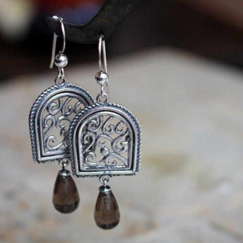 (Sterling silver smoky quartz long chandelier dangle drop earrings - Your illusion E8000)