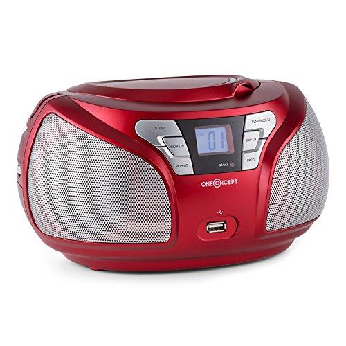 oneConcept Groovie RD tragbares Boombox Küchenradio CD Radio mit Bluetooth (UKW-Tuner, CD-Player, AUX, MP3-fähiger USB-Slot, Tragehenkel, Netz-und Batterie-Betrieb) rot