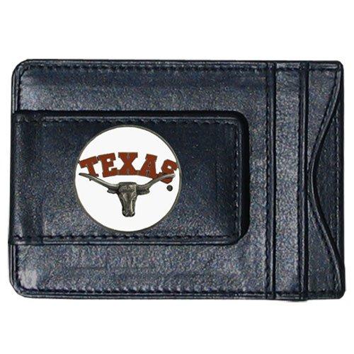 Siskiyou Texas Longhorns Round Logo Leather Money Clip Wallet - Leather Round Clip