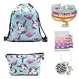 Unicorn Gifts for Girls – Unicorn Drawstring Backpack/Makeup Bag/Bracelet/Inspirational Necklace/Hair Ties (New Blue)