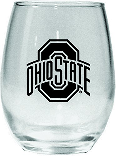 NCAA Ohio State Buckeyes 15 oz Stemless Wine Glass with Black Team - Glass University State Wine