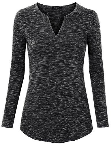 V-Neck T-shirts For Women, Jazzco Women's Long Sleeve Shirt Collar Casual Blouse Tops Black,Large