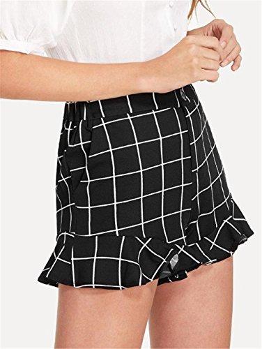 Chic Taille Femme Shorts Haute aux Imprim Noir Shorts FuweiEncore Grande Taille Evas Carreaux 6pXwaRvq