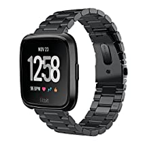 V-MORO Straps Compatible with Fitbit Versa Watch Band Solid Stainless Steel Metal Business Replacement Bracelet Strap for Fitbit Versa/Special Edition/Lite Edition Smart Watch