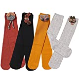 VWU 4/6 Pack Girls Animal Tube Socks Cotton Stocking Socks Knee High Socks 4-12Y (4 Pairs)