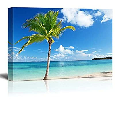 Canvas Prints Wall Art - Beautiful Tropical Scenery/Landscape Caribbean Beach and Palm Tree | Modern Wall Decor/Home Decoration Stretched Gallery Canvas Wrap Giclee Print & Ready to Hang - 24
