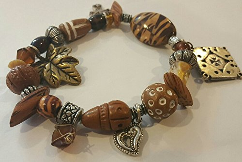 Brown And Silver Bead Stretch Bracelet, Fall Stretch Bracelet, Safari Stretch Bracelet 7.5 In ()