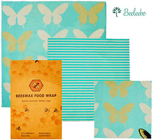 Beeswax Wraps Reusable Food Wraps assorted 3 pack Eco friendly Organic Sustainable Plastic Free Food Storage 1 Small 1 Medium 1 Large