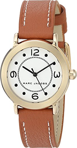 Marc Jacobs Women's 'Riley' Quartz Stainless Steel and Leather Casual Watch, Color Brown (Model: MJ1576)