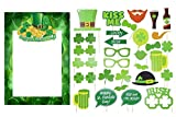 LALSU 28pcs St Patrick's Photo Booth Props, St Patrick's Picture Frame Cutouts for Decorations Photo Booth Props Irish Day Mustaches Irish Beer Festival Sharmrock Props, 1 Set