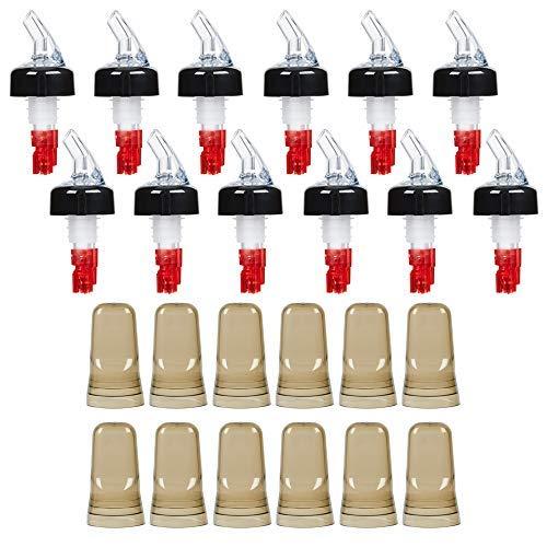 (12 pcs) 1 oz. Measured Liquor Pourers with Dust Covers (12 pcs), Clear Spout Pourer with White Tail and Black Collar plus Dust Cover Cap, 24-Piece Combo Set by Tezzorio by Tezzorio