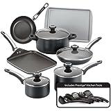 Farberware High Performance Nonstick Aluminum 17-Piece Cookware Set, Black
