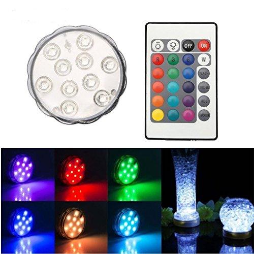 TKOOFN RGB 10 LEDs Unterwasser Strahler Unterwasserbeleuchtung Unterwasserlicht Teichbeleuchtung Unterwasserleuchte Tauchlampe Multicolor Lampe Leuchte Deko Lichter mit Fernbedingung - Bunt und Wasserdicht