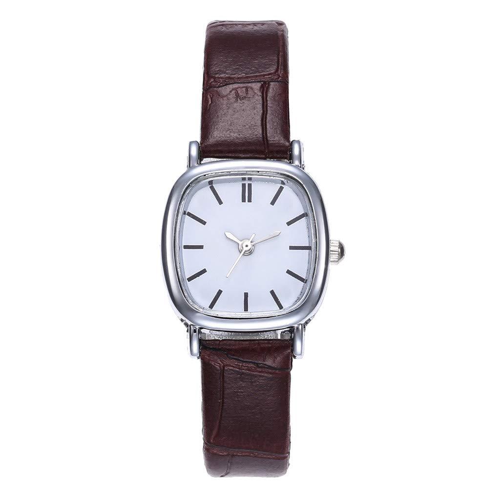 Toponly Men Women Couple Fashion Watch Leather Strap Line Analog Quartz Wrist Watches