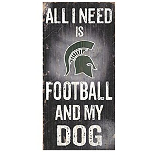 (NCAA Official National Collegiate Athletic Association Fan Shop Authentic Wooden Signs (Michigan State Spartans - Football and Dog))
