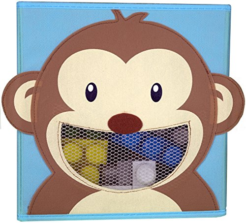 Cute Foldable Storage Cube Bin Box with Front Mesh Viewing Window to View Contents (Monkey design) (Sunglasses Monkey Jacket)