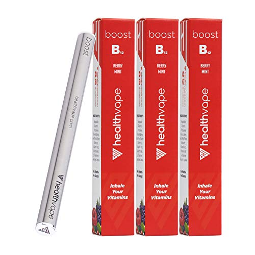BOOST Vit B12, B6 + Aromatherapy Inhaler with L-Theanine, Taurine - Fruit Flavored Natural Energy Pen - 3 Pack
