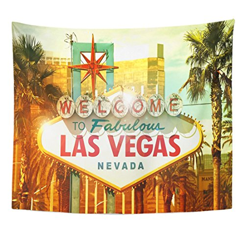 Vegas Sofa Collection (TOMPOP Tapestry Neon Fabulous Vegas Welcome to Las Nevada Strip Entrance Sign American Cities Collection City Casino Home Decor Wall Hanging for Living Room Bedroom Dorm 50x60 Inches)