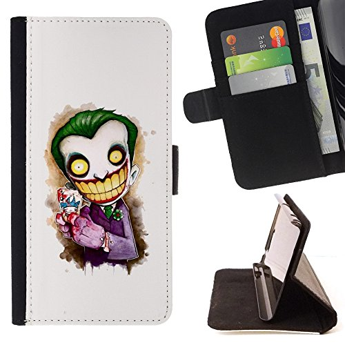 // PHONE CASE GIFT // Fashion Leather Wallet Case Stylish Credit Card & Money Pouch Protective Cover for SAMSUNG GALAXY ON5 / Scary Clown White Face Big Teeth Skeleton (Clown Faces Scary)