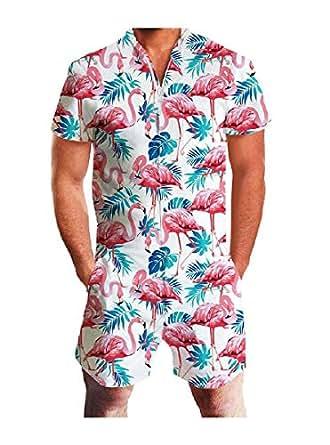 Mogogo Men's Short Sleeve Summer Hawaii Relaxed Shirt Top with Shorts AS1 XL