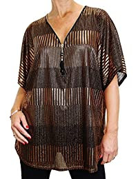 ICE (4077-3) Soft Metalic Loose Fit Tunic Top Front Zip Detail Bronze