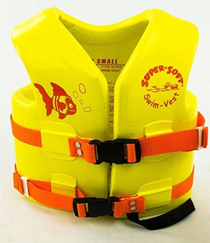 (Texas Rec. Child's Vinyl-Coated Foam Swim Vest | Small | Yellow | USCG Approved)