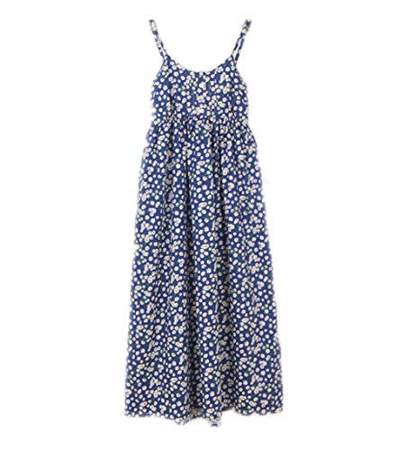 Pretty Spaghetti Strap Floral Cotton Dress Long Beach Dresses Collection (One Size, Blue Yellow Daisy)