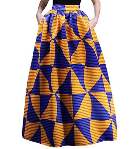 RARITY-US Women's Beach Fashion Maxi Skirt With Pockets African Floral Glamorous Print Pleated High Waist Casual (Beautiful Skirt)