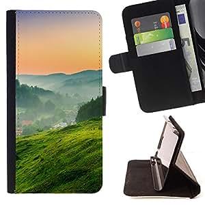 - Green Nature Landscape - - Monedero PU titular de la tarjeta de cr????dito de cuero cubierta de la caja de la bolsa FOR Samsung Galaxy S6 RetroCandy