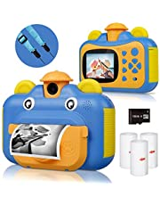BITIWEND kindercamera, printcamera voor kinderen, 1080P HD videocamera met 2,4 inch scherm, instant camera, zwart-wit fotocamera met 16 GB SD-kaart en 3 rollen printpapier, cadeau voor kinderen