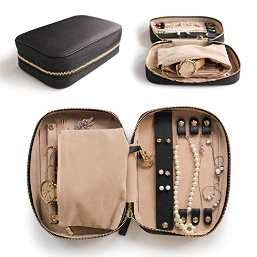 (Large Jewelry Travel Case Organizer for Necklaces, Earrings, Bracelets - Removable Travel Pouch and Full-Grain Scratch-Proof Leather)