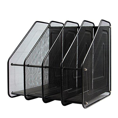 MONBLA 4 Tier Paper Organiser Magazine Holder Rack Stand Black Mesh Compartment Office Desk Document File (Holder Folder Mesh)