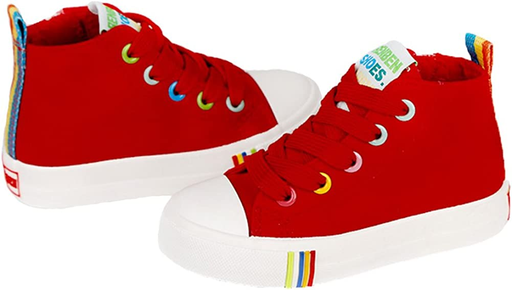 Toddler//Little Kid//Big Kid iDuoDuo Kids Rainbow School Tennis Shoes High Top Side Zipper Skate Sneakers