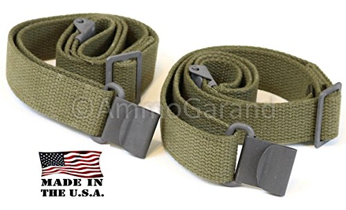2-Pack AmmoGarand M1 Garand Web Slings USGI Style Two Point OD Cotton Web US Made