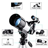 150X Astronomy Monocular Telescope 300/70mm for Kids with Finder Scope, Tripod and H6mm & H20mm Eyepiece, Come with Phone Adapter, Wire Shutter, Moon Filter and Backpack, Fit for Stargazing & Birding