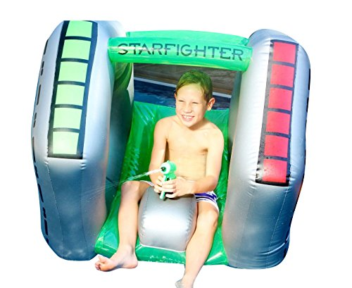 Inflatable Pool Float Star Fighter Super Squirter with Water Gun Lake Float and River Float 43.3 x 38.6 x 36.2