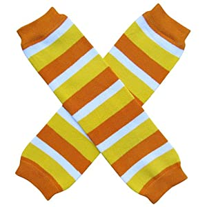 Halloween Costume Spooky Styles Holiday Leg Warmers - One Size - Baby, Toddler, Girl (Candy Corn Stripe)