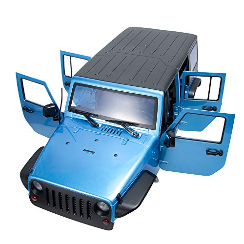 RCLions 313mm Wheelbase RC Car Body Shell Plastic for1/10 Scale RC Car Jeep Wrangler Axial SCX10-II 90046/90047 TRX4 kit (Blue)