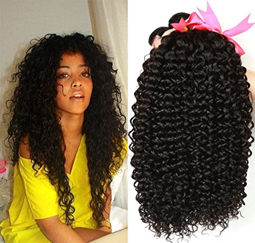 "Jaycee Hair 8a Brazilian Unprocessed Virgin Hair Kinky Curly Hair Weave Weft 3 Bundles 100% Human Hair Extensions Cheap Bundle Hair Natural Color can be Dyed and Bleached(100+/-5g)/pc(14""+16""+18"")"