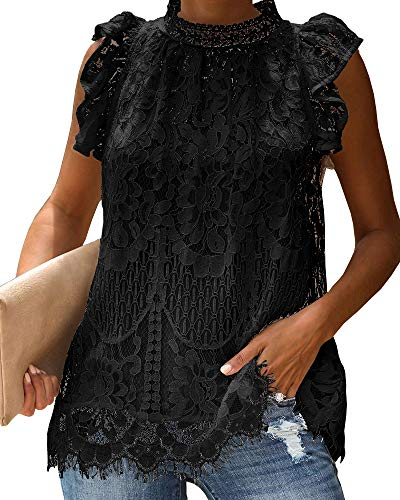(GAMISOTE Womens Lace Tank Tops Floral Crochet Cap Sleeve Turtle Neck Sleeveless)