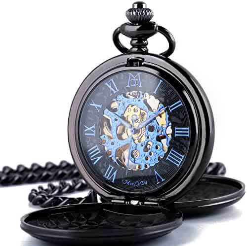 ManChDa Automatic Mechanical Roman Numerals Dial Skeleton Pocket Watches with Gift Box and 2 Chains for Mens Women